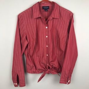 Ann Taylor Front Tie Button Down Shirt Sz12P.